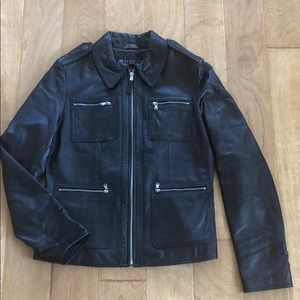 Kenneth Cole Motorcycle Leather Jacket Size M